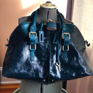 Chloe Paddington weekender tote in teal patent